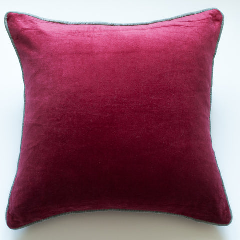 Red velvet accent pillow alternative down insert included