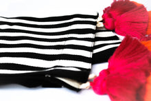 Load image into Gallery viewer, black and white striped bed runner with double pink and orange tassel