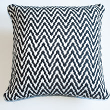 Load image into Gallery viewer, geometric chevron black and white accent pillow with down insert