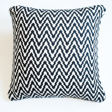 Load image into Gallery viewer, Chevron black and white accent pillow with down insert