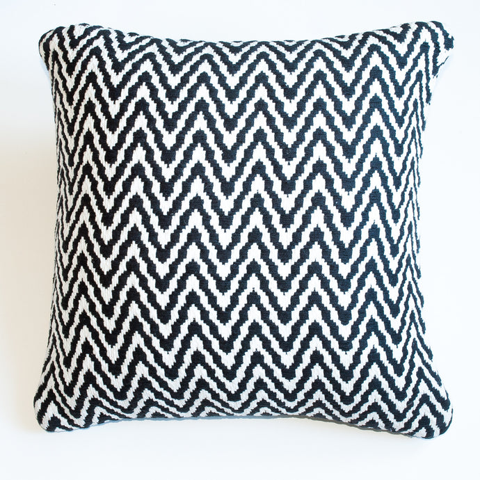 Chevron black and white accent pillow with down insert
