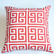Load image into Gallery viewer, Greek key 18x18 orange accent pillow alternative down insert included
