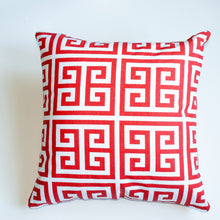 Load image into Gallery viewer, greek key orange accent pillow alternative down insert included