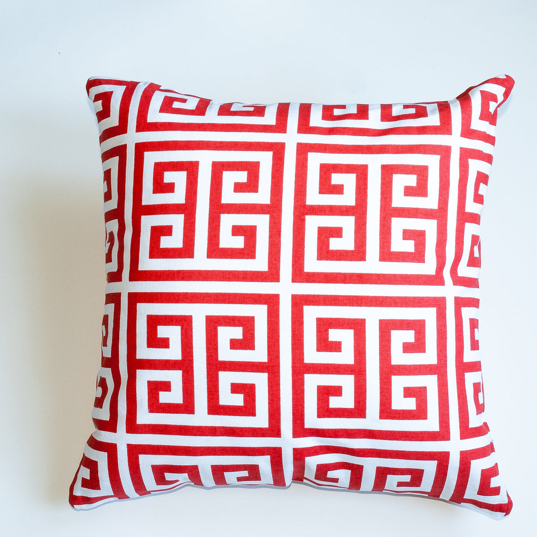greek key orange accent pillow alternative down insert included