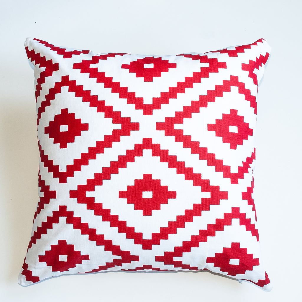 Geometric pattern red accent pillow alternative down insert included