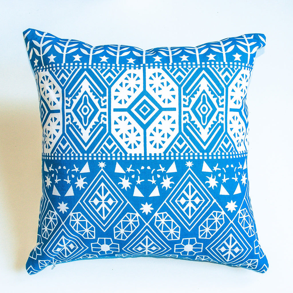 eclectic with a boho print blue accent pillow alternative down insert included