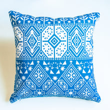 Load image into Gallery viewer, eclectic with a boho print blue accent pillow alternative down insert included
