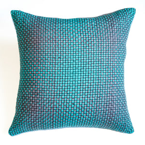 Green and gray yarn accent pillow alternative down insert included