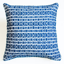 Load image into Gallery viewer, Navy blue patterned accent pillow alternative down insert included
