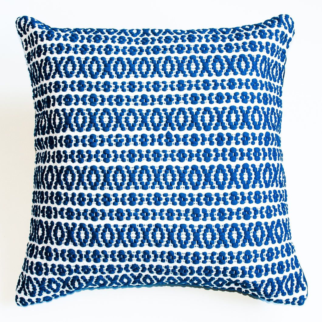 Navy blue patterned accent pillow alternative down insert included