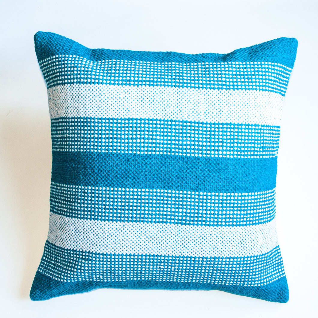 blue jay striped accent pillow alternative down inserted