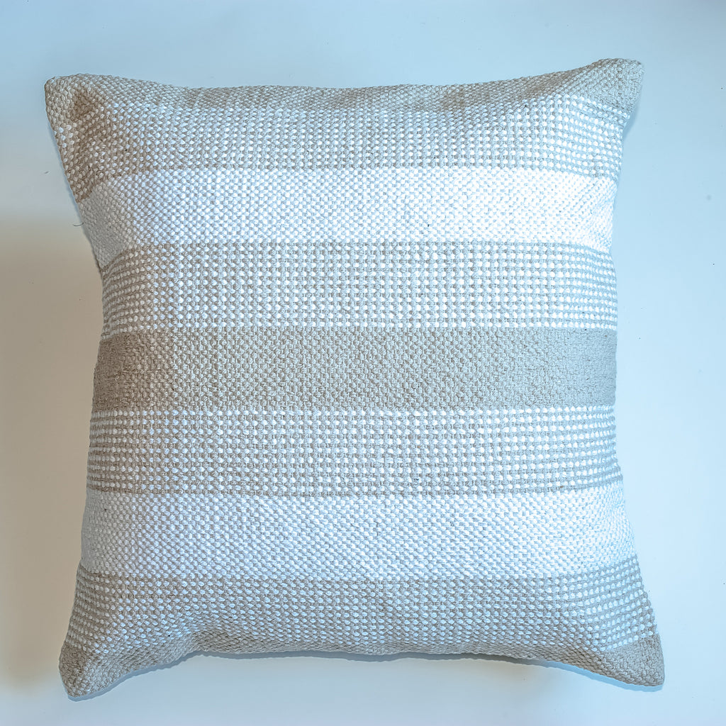 striped beige neutral accent pillow with alternative down insert