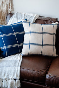 "Azul y Blanco Stripes 20""x20"" Blue Pillow Cover"