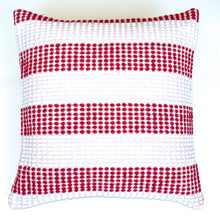 Load image into Gallery viewer, Red and soft pink striped accent pillow alternative down insert included