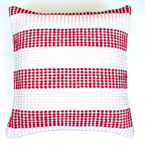 Red and soft pink striped accent pillow alternative down insert included