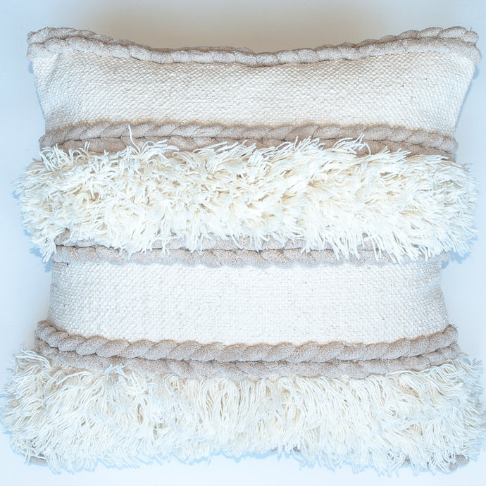 neutral boho fringed accent pillow alternative down insert included