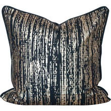 "Load image into Gallery viewer, Gold Metallic and Black Cotton Pillow Cover 18"" x 18"""