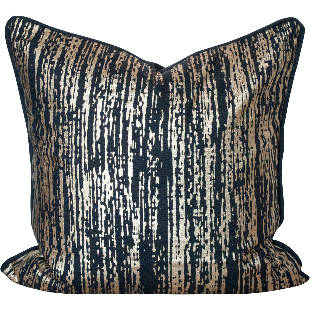 Gold Metallic and Black Cotton Pillow Cover 18