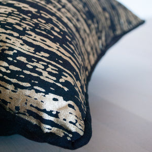"Gold Metallic and Black Cotton Pillow Cover 18"" x 18"""