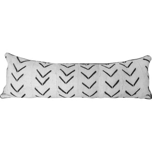 Lumbar Mudcloth Pillow Cover in White with Black Motifs