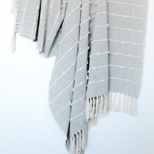 Nudos Neutral Gray and Cream Throw Blanket