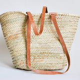 Moroccan Straw Bag Leather Handles