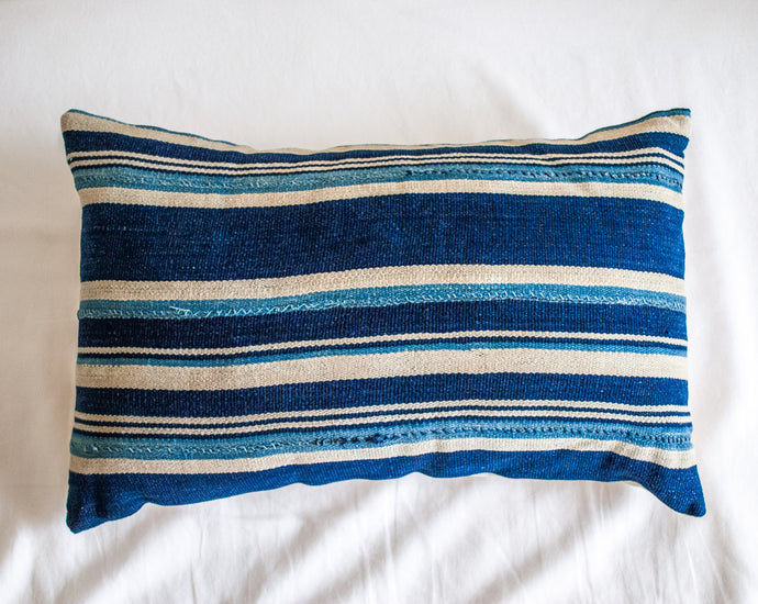 Lumbar Throw Pillow in Striped Blue 12x24