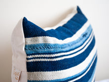 Load image into Gallery viewer, Lumbar Throw Pillow in Striped Blue 12x18
