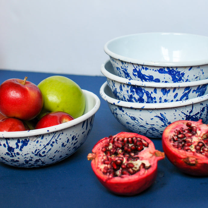 Enamel Cereal Bowls with Handsplash Navy Blue Details