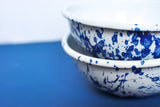 Navy Blue and White Enamel Cereal Bowls Hand-painted