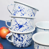 Enamel Coffee Mug White with Navy Blue splash painted design