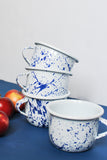 coffe mug white enamel coated with navy blue design