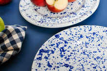 Load image into Gallery viewer, white dinner plates with navy blue splash painted design