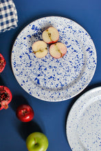 Load image into Gallery viewer, withe dinner plates with navy blue design