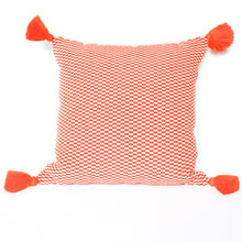 Load image into Gallery viewer, orange handmade peruvian pillow with single orange tassel down insert