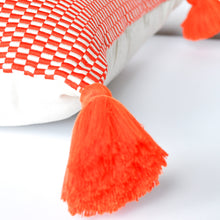 Load image into Gallery viewer, orange peruvian handmade accent pillow with single orange tassel