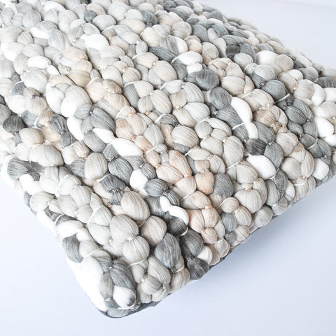 pebble handmade meraki home accent pillow, light gray and blush