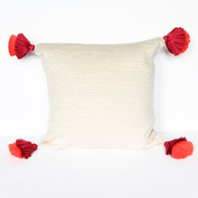 Load image into Gallery viewer, peruvian handmade white pillow with double tassel