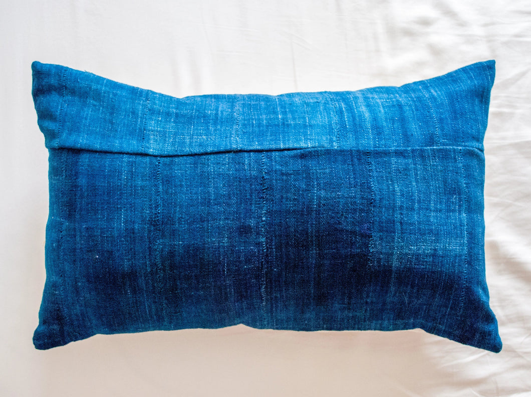 Lumbar blue pillow 12x24 made with vintage indigo Mudcloth