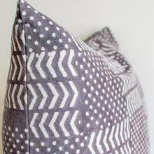 Load image into Gallery viewer, gray throw pillow with white motifs and zipper close 24x24 size