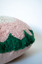 Load image into Gallery viewer, Washable floor pillow in green, pink and cream, with a flower design