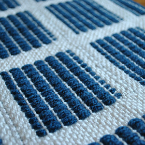 blue handmade indoor and outdoor rug