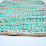Small Area Rug in Aqua with Diamond Pattern