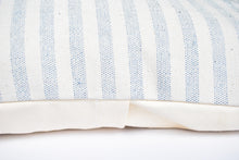 Load image into Gallery viewer, Blue and White Striped Throw Pillow perfect neutral for any homestyle