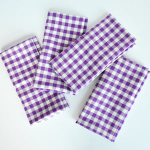 Gingham cotton napkins,Purple, Meraki Home Accents