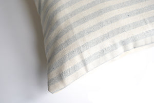 Lumbar Accent Pillow with Blue and White Striped Pattern