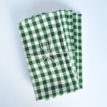 Load image into Gallery viewer, Gingham Check Cotton Napkins, Set of 4, Green Emerald