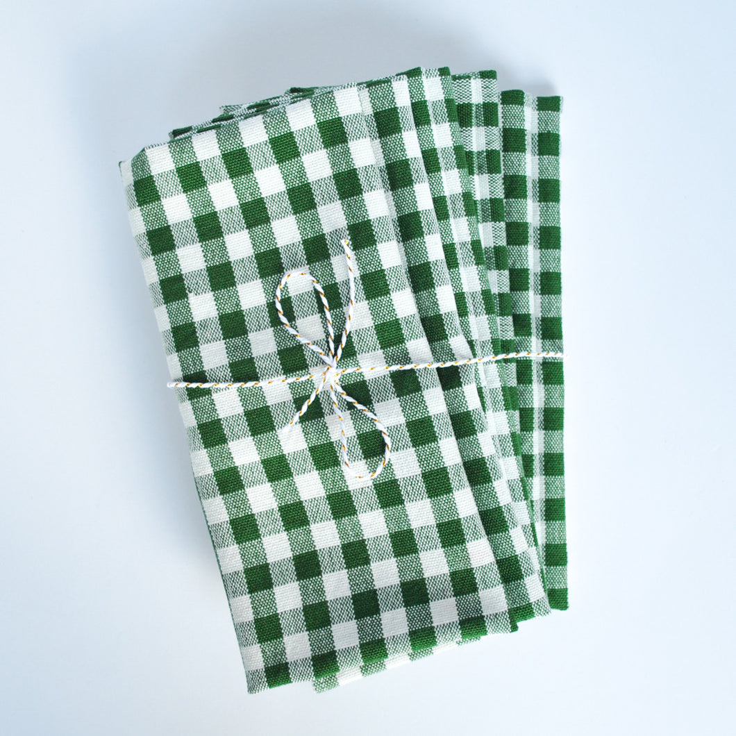 Gingham Check Cotton Napkins, Set of 4, Green Emerald