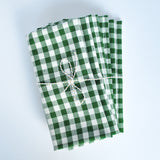 Gingham Check Napkins, Set of 4, Green Emerald