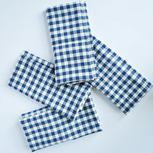 Load image into Gallery viewer, Gingham Check Cotton Napkins, Set of 4, Navy Blue